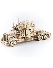 ROBOTIME Tung lastbil 3D-pussel bygger på ditt eget trä laserskurna modellsatser vuxna byggnadskonstruktion för barn