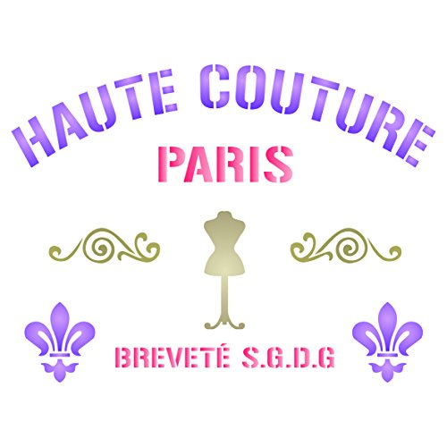 Haute Couture Stencil - 8 x 6 inch (M) - Reusable Vintage French Themed Word Wall Stencils for Painting - Use on Paper Projects Scrapbook Journal Walls Floors Fabric Furniture Glass Wood etc.