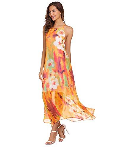 LAmore Boho Ballkleid Damen Partykleid Strandkleid Kleider Muster Festlich Blumenmuster Sommerkleider Casual Kleid Elegant Sommer ZYgqrYUw