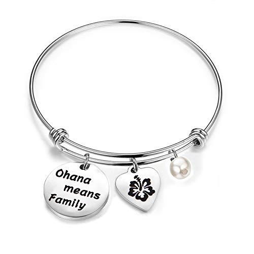 bobauna Hawaiian Ohana Means Family Hibiscus Charm Bracelet for Mom Sister Best Friends (Ohana Bracelet)