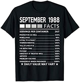 September 1988 Facts  - 31st Birthday gift T-shirt | Size S - 5XL