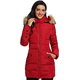 Epsion Women's Hooded Thickened Long Down Jacket Winter Down Parka Puffer Jacket