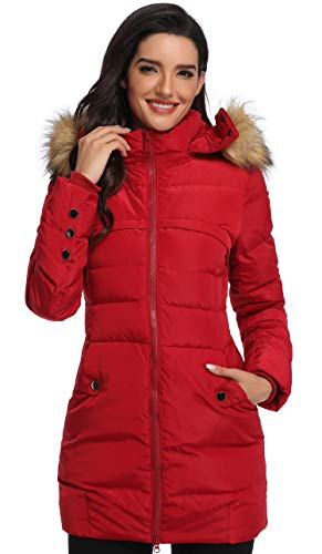 Epsion Women's Hooded Thickened Long Down Jacket Winter Down Parka Puffer Jacket (WineRed, XS)