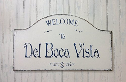 Getaway Sign - Wood Plaque Del Boca Vista sign, Personalized custom home sign, name your own home sign, Florida getaway sign, retirement decor, snowbird sign, Father's 24
