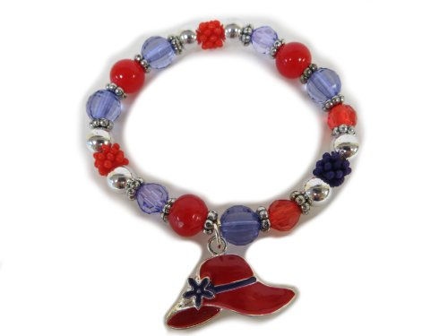 Stretch Bracelet / Single Red Hat / Red Purple & Silver beads ()