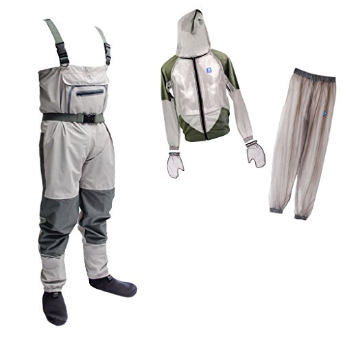 Fenteer Outdoor Activities Clothing Set Stockingfoot Breathable Fishing Wader Waterproof Fishing Farming Apparel + Lightweight Anti-Mosquito Clothing Set Jacket Pants Gloves Head Net Cover XL