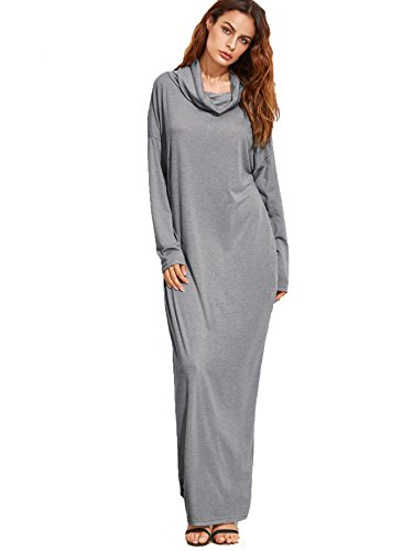 Verdusa Women's Casual Long Sleeve Cowl Neck Loose Pocket Shift Long Maxi Dress Grey (Long Shift Dress)