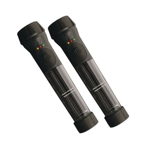 Hybrid Solar Powered Flashlight with Emergency Battery Backup Black (2 pack)