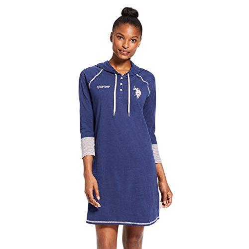 U.S. Polo Assn. Womens Long Sleeve Henley Pajama Sleep Nightgown Dormshirt Evening Blue Small