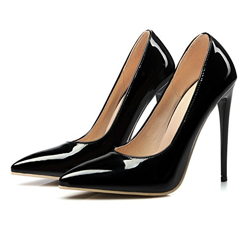 azmodo Womens Pointed Toe Shoes Business High Heels Sexy Stiletto Slip-On Pumps Black iv3CH