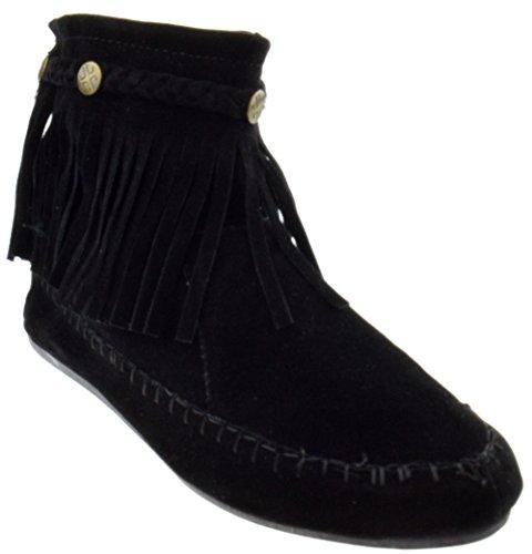 TG Lucita Fringe Boots Ankle 01 Black Moccasin AZZUrdnx