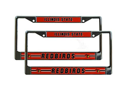 Rico Illinois State Redbirds NCAA (Set of 2) Chrome Metal License Plate Frames