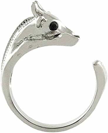 Enhanced Giraffe Animal Wrap Ring White Gold-plated Shiny Silver Tone