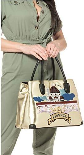 Braccialini YY - B13982 - Sac pour femme modèle carte postale en métal - Multicolore