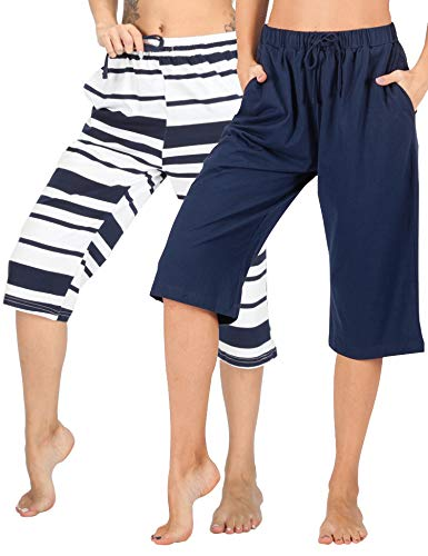 (WEWINK CUKOO 100% Cotton Women Pajama Capri Pants Lounge Pants with Pockets Sleepwear (L=US 12-14, Navy+ Navy Stripe) )