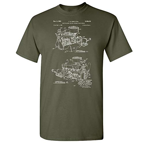 Chrysler 220 Slant Six Engine T-Shirt, Mechanic Gift, Auto Enthusiast, Car Lover, Gearhead, Classic Car, Repair Shop Military Green (XL)
