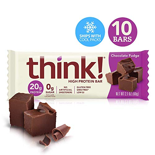 think! (thinkThin) High Protein Bars - Chocolate Fudge, 20g Protein, 0g Sugar, No Artificial Sweeteners, Gluten Free, GMO Free*, 2.1 oz bar (10Count - packaging may vary)