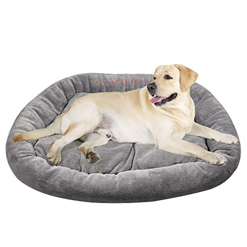 YUNNARL Trapezoid Orthopedic Dog Bed Ultra Soft Crystal Velvet XL Dog Bed Reversible Fleece Dog Bed Anti-Slip Dog Crate Bed Machine Washable Bolster Pet Bed for Dogs Cats, Gray, Large