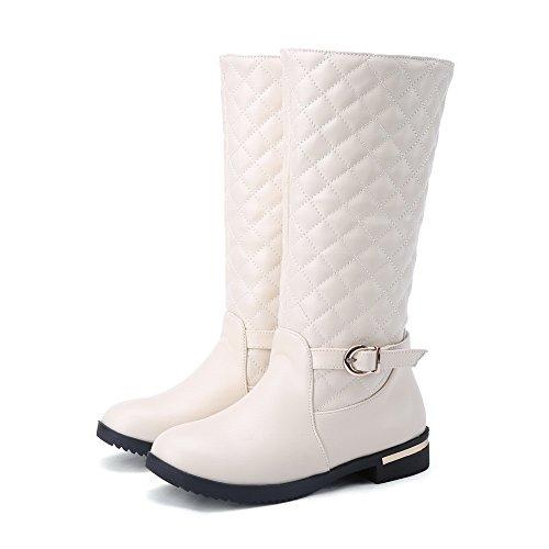 White Heels BalaMasa Buckle Square Boots Imitated Round Leather Lattice Ladies Toe xPw1Bwv