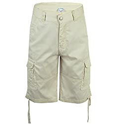 Greatrees Men's Cotton Fit Button Belted Pleat Front Cargo Shorts Ggrey 38