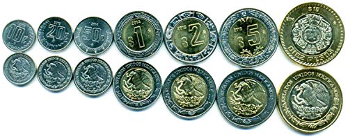 Mexico 7 Coins Set 2011 UNC 10 CENTAVOS - 10 PESOS Collectible Coins to Your Coins Album, Coin Holders OR Coin - Coin Holder Set
