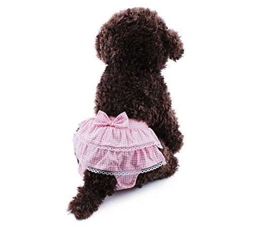 Dog Diapers TYHY Reusable Washable - Sanitary Pant Dress Ruffles bow Cotton Velcro For SMALL Breeds Dog Diapers (Sewing Diaper Covers)