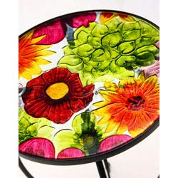 Evergreen Garden Outdoor-Safe Round Summer Splash Glass and Metal Side Table – 12 L x 12 W x 22 H