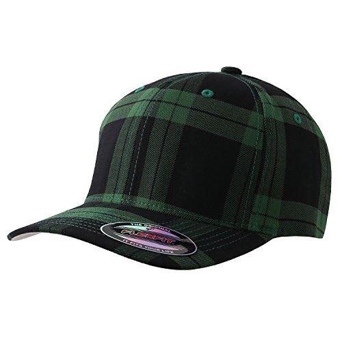 (Flexfit Fitted Tartan Plaid Hat 6197, (Black/Green - L/XL))