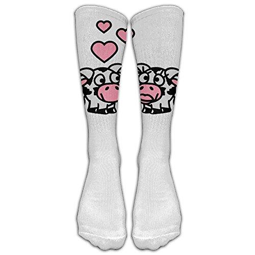 Smiley Costume Falls (Unisex Knee High Long Socks Smiley Cows In Love 3c Boot High Socks ZHONGJIAN)