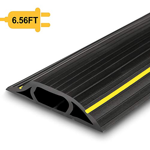 Floor Cable Cover, 6.5 Ft Floor Cord Protector 3 Channels Contains Cords, Cables and Wires, Perfect for Office, Home, Workshop, Warehouse, Concert, or Other Outdoor Surroundings (Black) ()