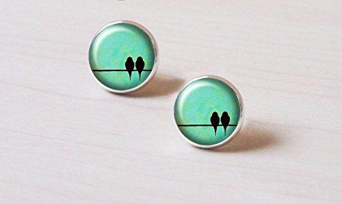 - Vintage Cute Couple Bird on the Wire Pattern Earrings Accessories-Antique Silver Earrings- Earrings for Sensitive Ears -Handmade Jewelry-Earrings Jewelry-Green Sky Glass Fashion Jewelry For Women