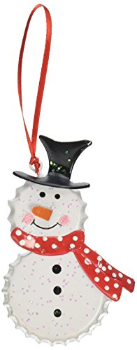 Package of 12 Adorably Crafted Wee Bottle Cap Snowman Ornaments for Package Embellishments, Tree Trim, and Holiday - Bottle Craft Snowman