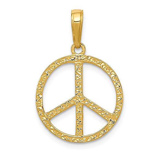14K Yellow Gold Peace Sign Pendant from Roy Rose Jewelry ()