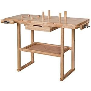 TecTake Banco de trabajo de madera con tornillos de banco - Aprox. 117 x 47,5 x 83 cm