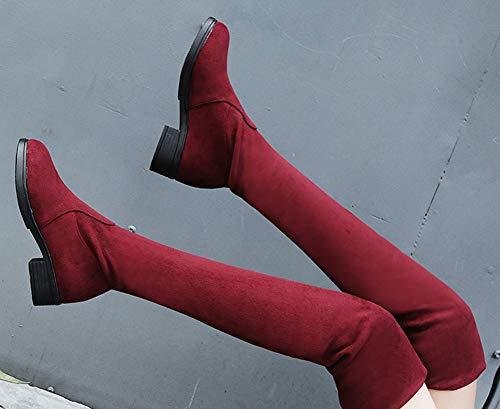 dessu Femme Tige Aisun Mode Au Rouge Du Botte Longue Genou Chaude FXwwdqx