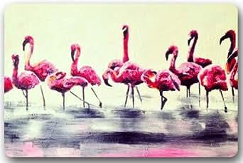 "Flamencos de pintura al óleo ""15,7(W) X 23,6(H) tela no tejida Multifuntional Felpudo"