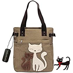 Mother's Day Gifts-Valentoria Cute Cat Design Multifunction Women's Canvas Zipper Closure Handbag Shoulder Lunch Tote Bag with Large Capacity Best Gifts for Teen Girls (Khaki)