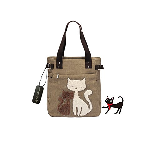 Year End Clearance Sale-Valentoria Cute Cat Design Multifunction Women's Canvas Zipper Closure Handbag Shoulder Lunch Tote Bag with Large Capacity Best Gifts for Teen Girls (Khaki)