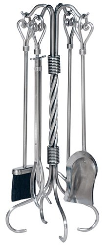 Uniflame, F-1619, 5pc Pewter Fireset with Heart Handles & Tampico Brush