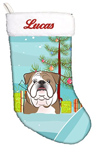 (Caroline's Treasures BB1591CSEMB Christmas Tree and English Bulldog Personalized Christmas Stocking, Large,)