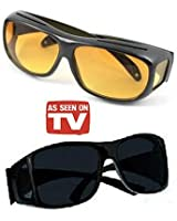 Alfa Mart- Hd Vision Wrap Around Sunglasses Fits Over Your Prescription Glasses