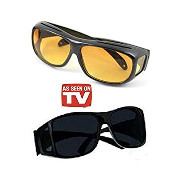 79162e169f Alfa Mart- Hd Vision Wrap Around Sunglasses Fits Over Your Prescription  Glasses  Amazon.in  Car   Motorbike