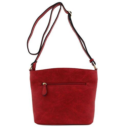 Bag Burgundy Zip Pocket Medium Triple Crossbody 0wq6OYFp