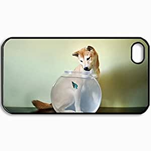 Personalized Protective Hardshell Back Hardcover For iPhone 4/4S, Dog Aquarium Fish Design In Black Case Color