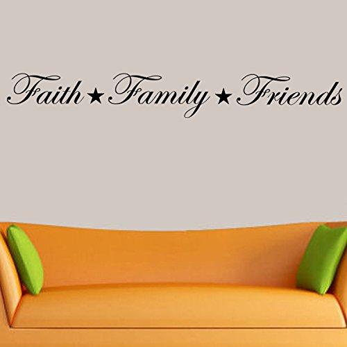 Faith, Family, Friends Wall Decal Home Decor (Black)
