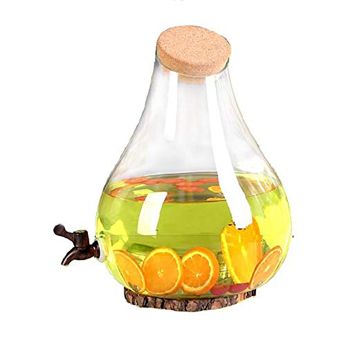 (Pear-shaped Beverage Dispenser With Faucet, 10L Switch Cold Kettle Soaked Glass Bottle Indoor Outdoor Commercial Juice/Beer/Ice Drink/Tea/Lemonade (color : 10L+plastic faucet))