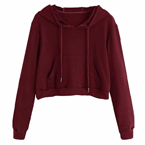 Clearance Womens Sweatshirts - vermers Women O-Neck Pocket Hoodie Jumper Long Sleeve Pullover Tops(S, Wine Red) by vermers