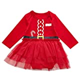 2PCS Baby Girls Santa Claus Outfit Set Long Sleeve Bodysuit with Hat