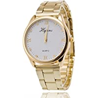 Pocciol Wristwatch,Women Lady Gorgeous Wrist Watch Quartz Gold Stainless Steel Band Roman Numerals Bracelet