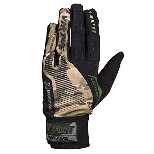 Virtue Breakout Gloves - Ripstop Full Finger Paintball Gloves - Camo (XL)